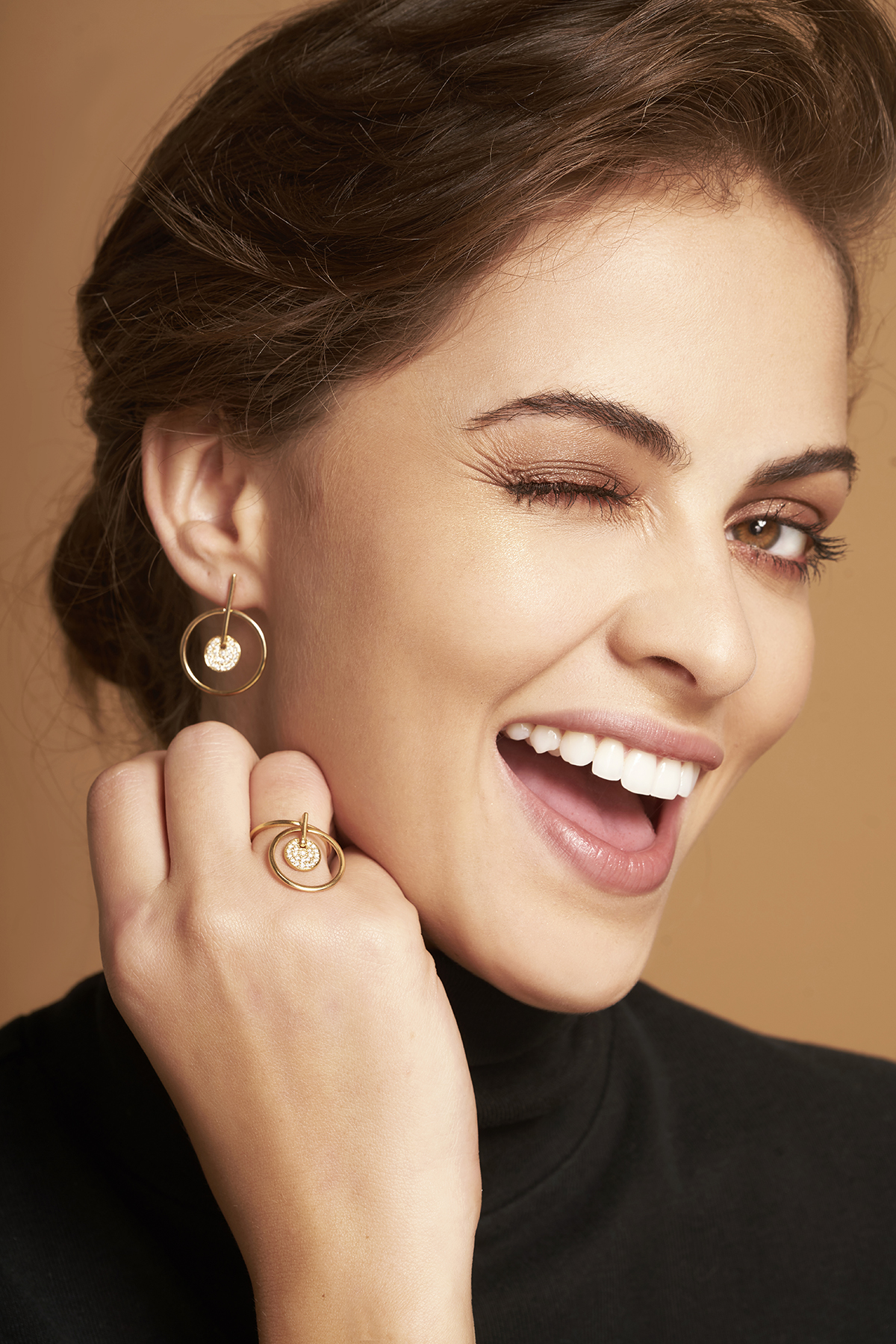 Front facing Hoops with Diamond Dangling Disc Earrings and Diamond Dangling Disc Ring
